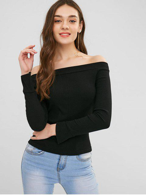 women Off Shoulder Lace Up Plain Tee - BLACK ONE SIZE Mobile