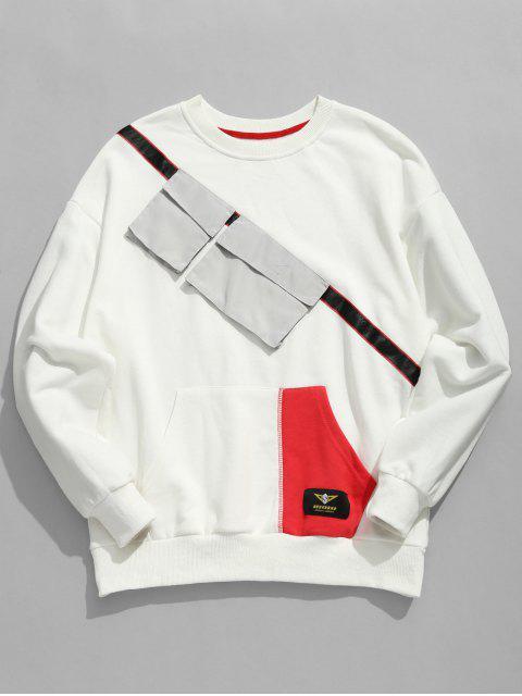 fancy Chest Pockets Embellished Sweatshirt - WHITE XL Mobile