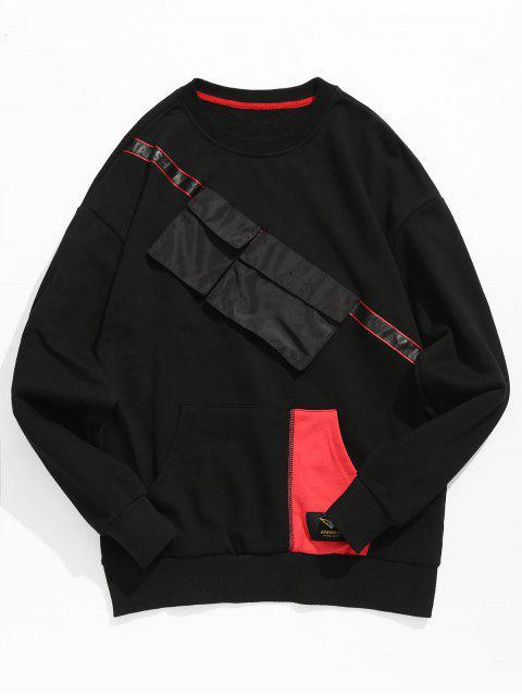lady Chest Pockets Embellished Sweatshirt - BLACK XL Mobile