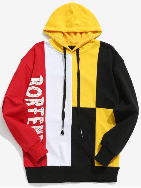 shops Color Block Letter Streetwear Hoodie - YELLOW 2XL Mobile