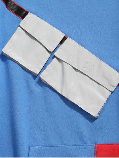 fancy Chest Pockets Embellished Sweatshirt - BLUE M Mobile
