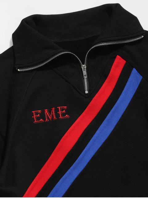 ladies Colorful Stripes Half Zip Collar Sweatshirt - BLACK XL Mobile