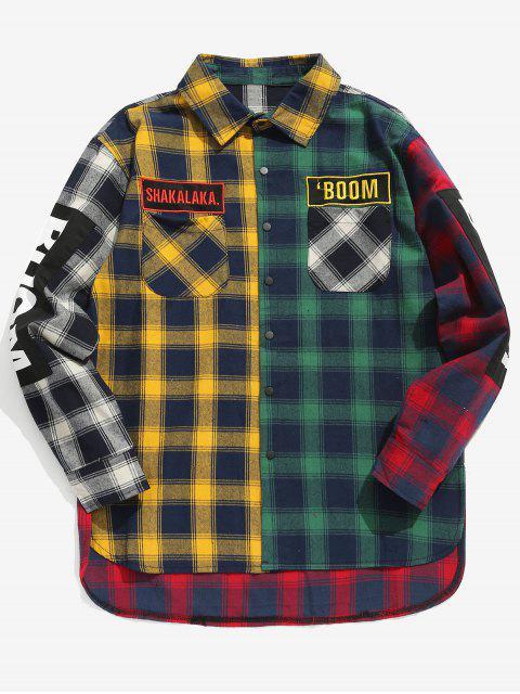 buy Plaid Side Split Letter Pattern Shirt - GREEN XL Mobile