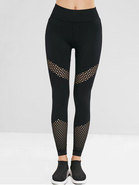 trendy Gym High Waisted Perforated Seamless Leggings - BLACK L Mobile