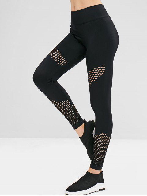 Leggings sin costura perforados de talle alto de gimnasio - Negro M Mobile