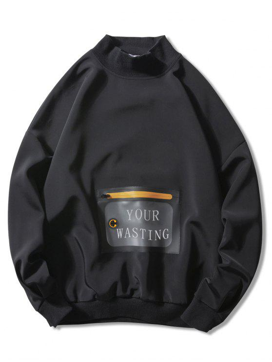 online Waterproof Pocket Loose Casual Sweatshirt - BLACK M