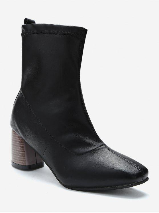 unique Chunky Heel Slip-on Short Boots - BLACK EU 38