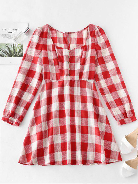 sale ZAFUL A Line Plaid Tied Back Dress - MULTI XL