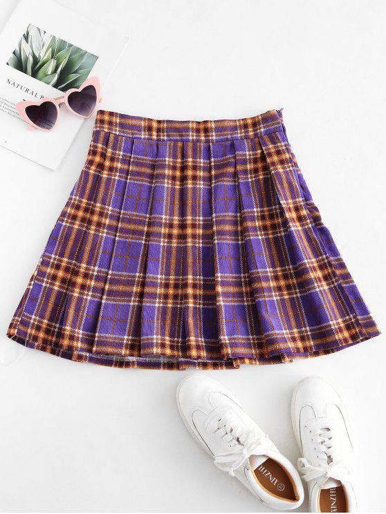 womens ZAFUL Plaid Pleated Flare Skirt - PURPLE XL