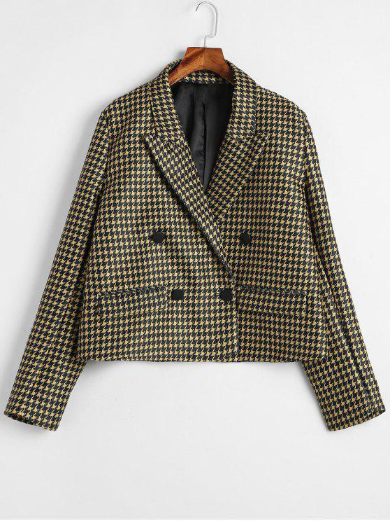 affordable Double Breasted Houndstooth Blazer - MULTI S