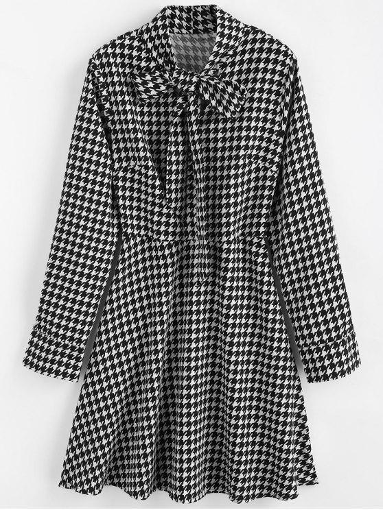 women's Bow Collar Houndstooth Dress - MULTI S