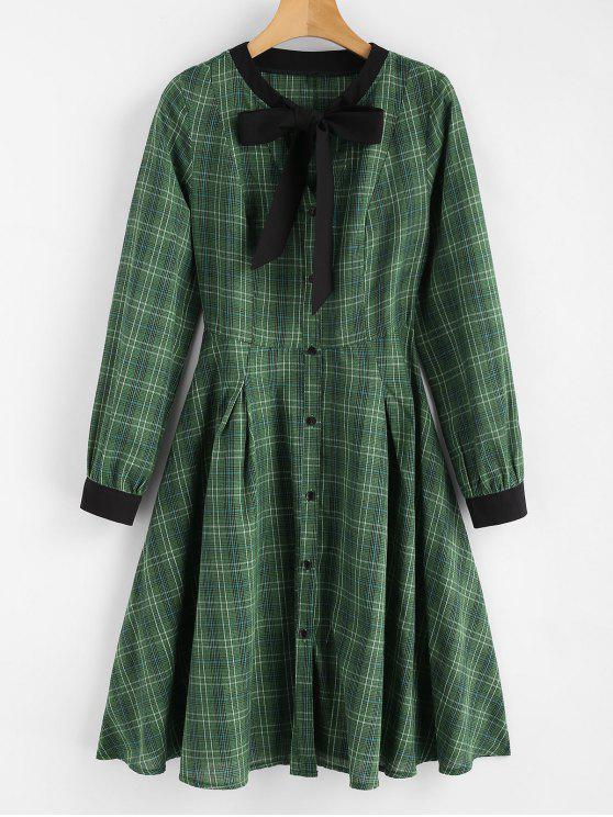 ladies Plaid Bow Shirt Dress - MEDIUM FOREST GREEN L