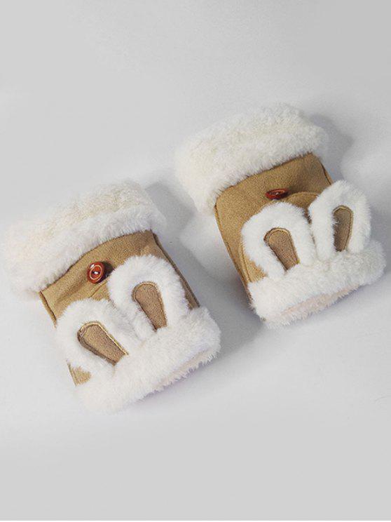 Gants d'Hiver Oreille de Lapin Décoratifs Sans Doigts - Brun Biscuit