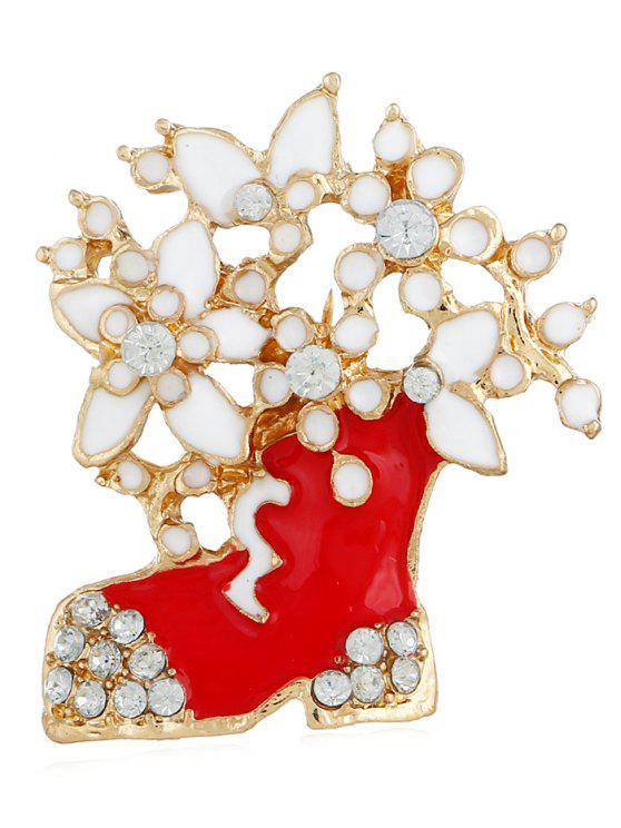 outfits Rhinestone Floral Boots Christmas Brooch - GOLD