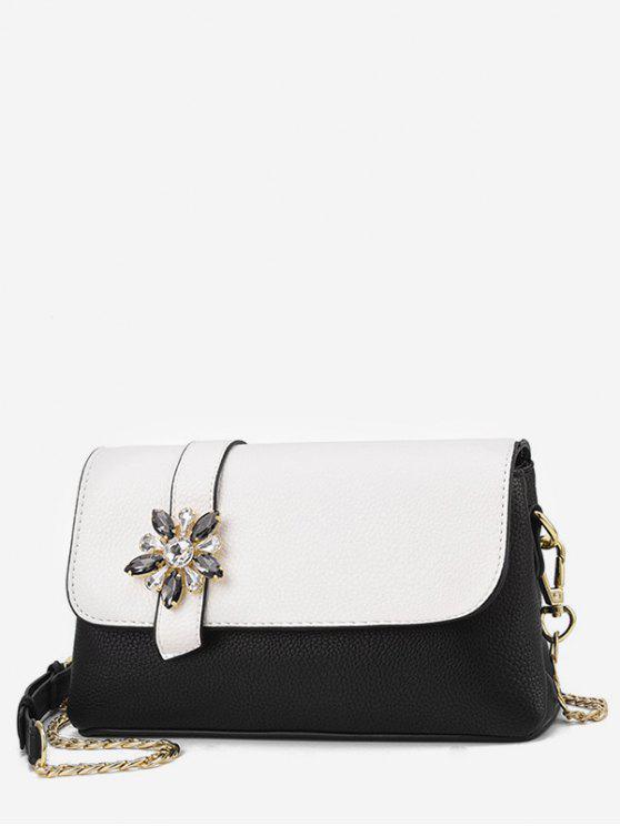 shop Rhinestone Flower Panel Crossbody Bag - WHITE