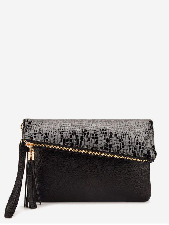 trendy Printed Tassel Crossbody Bag - BLACK