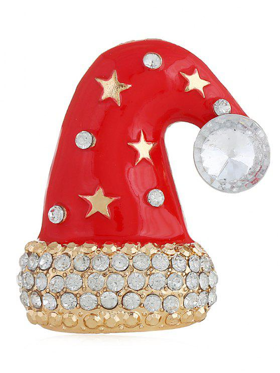 chic Rhinestone Christmas Hat Party Brooch - GOLD