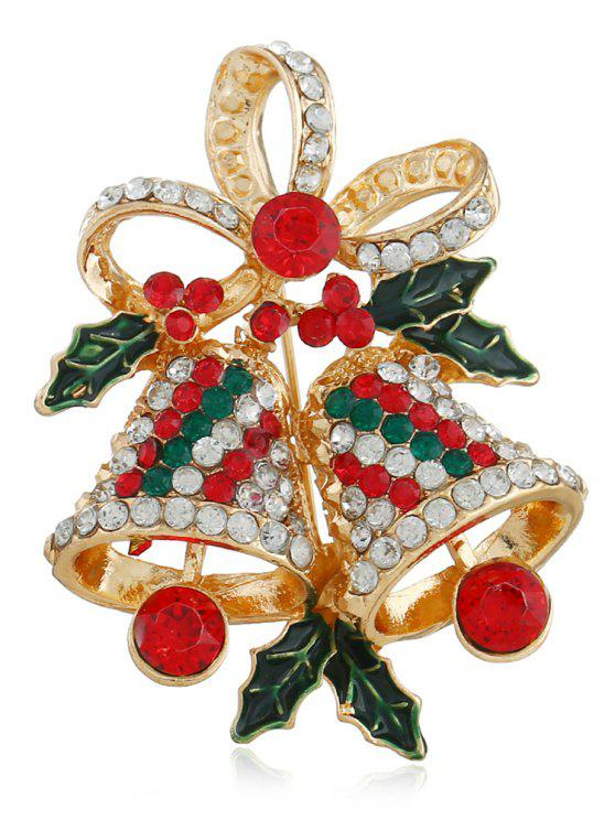 unique Christmas Bell Rhinestone Brooch - MULTI