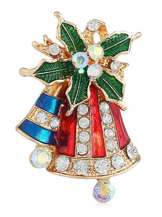 women Christmas Bell Colored Rhinestone Party Brooch - GOLD