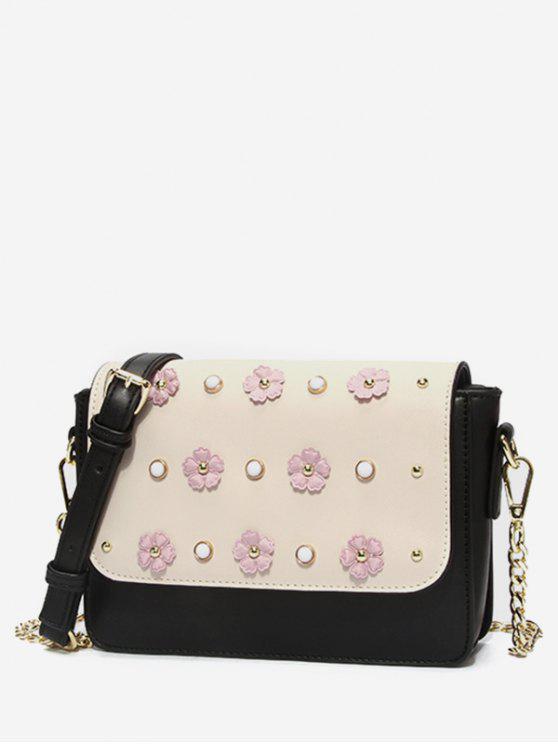women's Color Block Flower Crossbody Bag - WARM WHITE