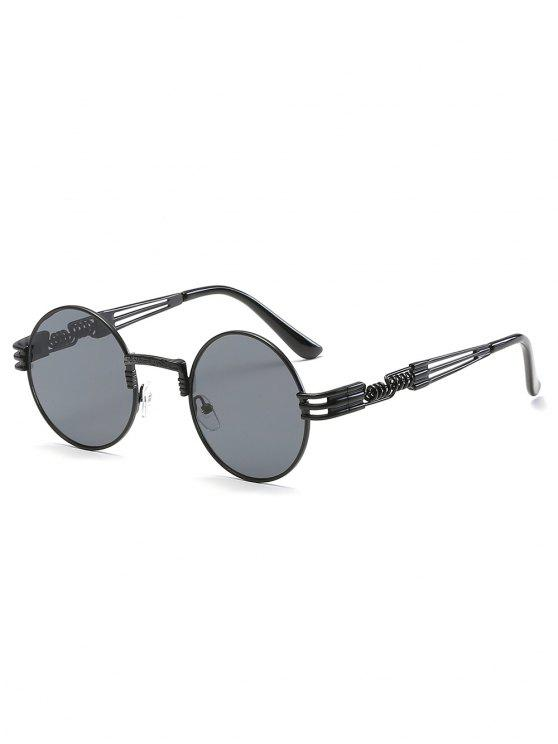 outfits Vintage Metal Frame Flat Lens Round Sunglasses - BLACK