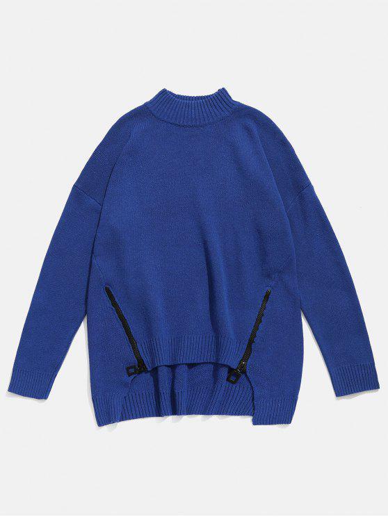 outfit Zipper Embellished High Low Hem Sweater - CADETBLUE 3XL