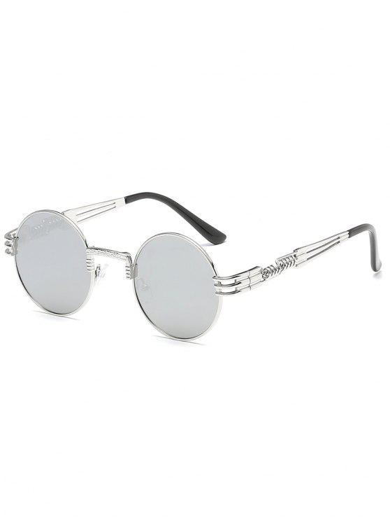 shops Vintage Metal Frame Flat Lens Round Sunglasses - SILVER