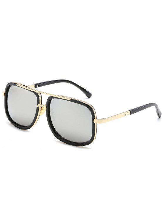 fashion Vintage Metal Frame Crossbar Sunglasses - SILVER