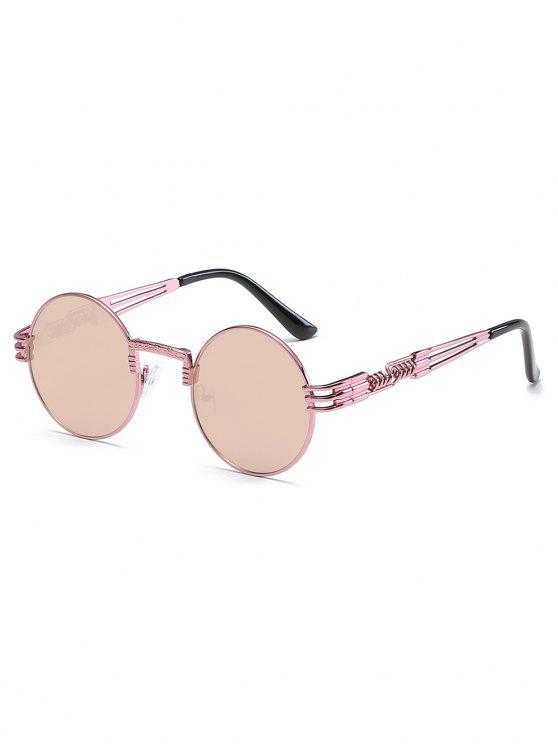 new Vintage Metal Frame Flat Lens Round Sunglasses - KHAKI ROSE