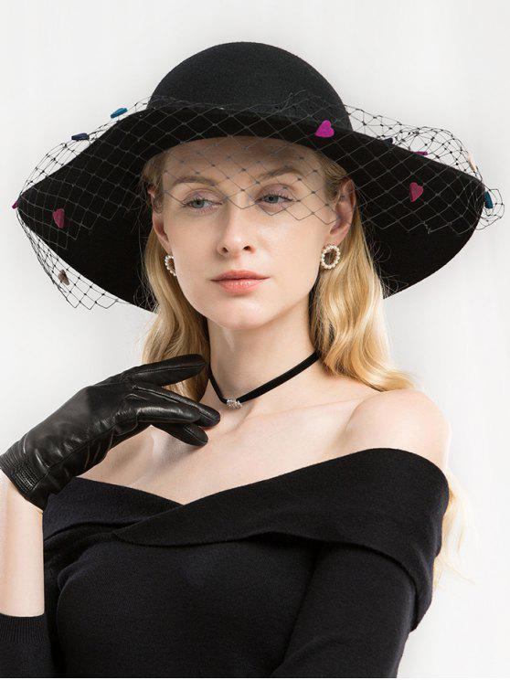 fashion Elegant Mesh Woolen Fedoras Hat - BLACK