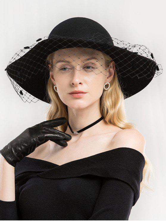 sale Elegant Mesh Woolen Fedoras Hat - NIGHT