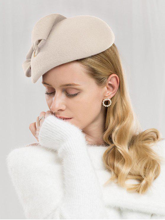 buy Solid Color Woolen British Hat - BEIGE