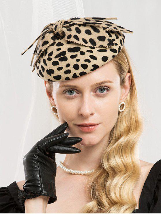 outfit Elegant Bowknot Leopard Beret - LEOPARD
