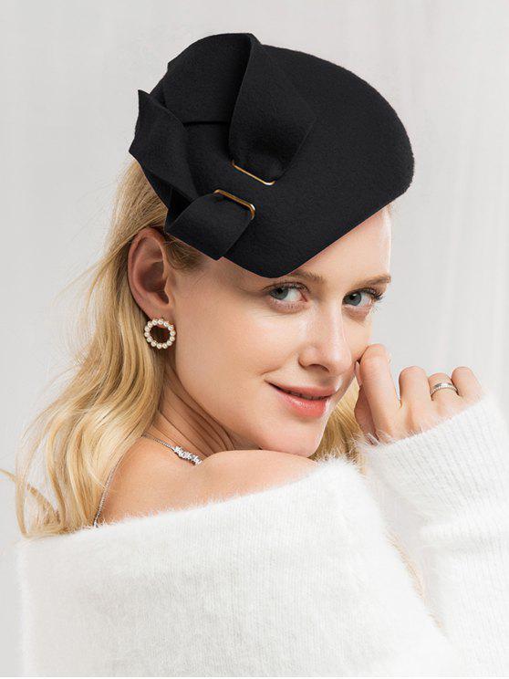 shops Solid Color Woolen British Hat - BLACK