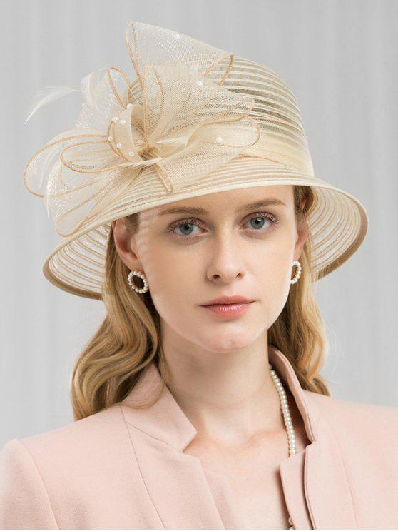 fancy Floral Striped Tea Party Hat - CHAMPAGNE