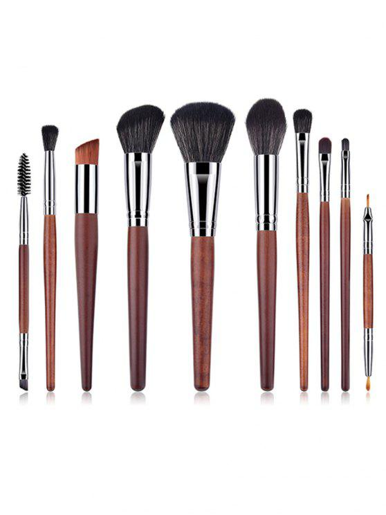 affordable 10Pcs Wooden Handles Foundation Eyeshadow Eyebrow Travel Makeup Brush Set - CHESTNUT