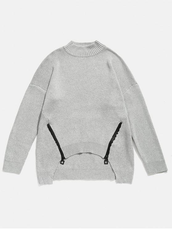 women Zipper Embellished High Low Hem Sweater - GRAY 4XL