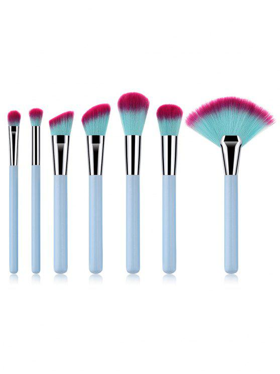 new 7Pcs Synthetic Fiber Hair Eyeshadow Blush Fan Brush Suit - LIGHT SKY BLUE