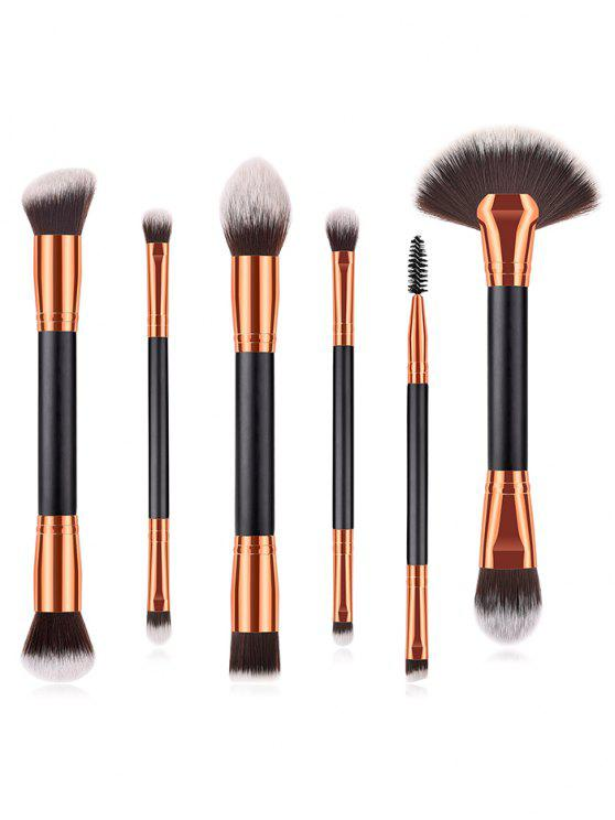 outfits Cosmetic 6Pcs Double Ended Fiber Hair Travel Makeup Brush Set - BLACK