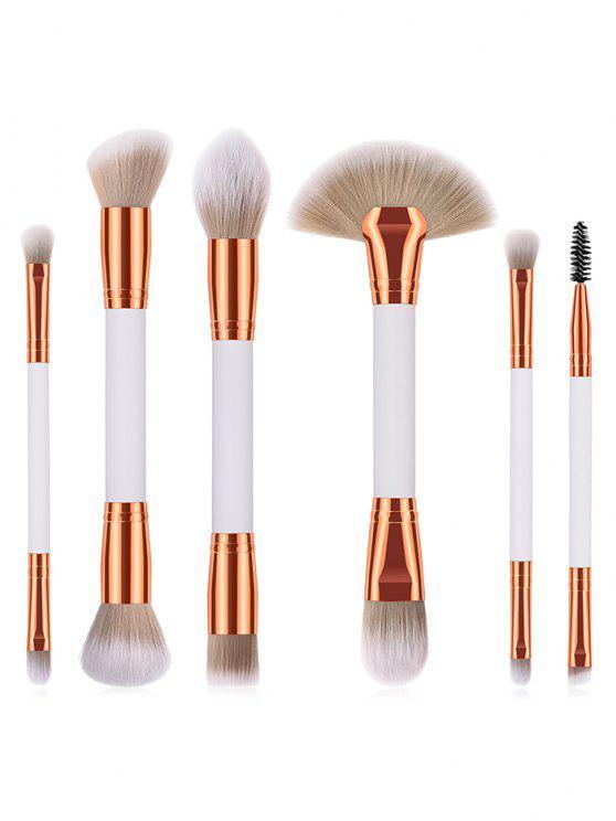 shop Cosmetic 6Pcs Double Ended Fiber Hair Travel Makeup Brush Set - WHITE