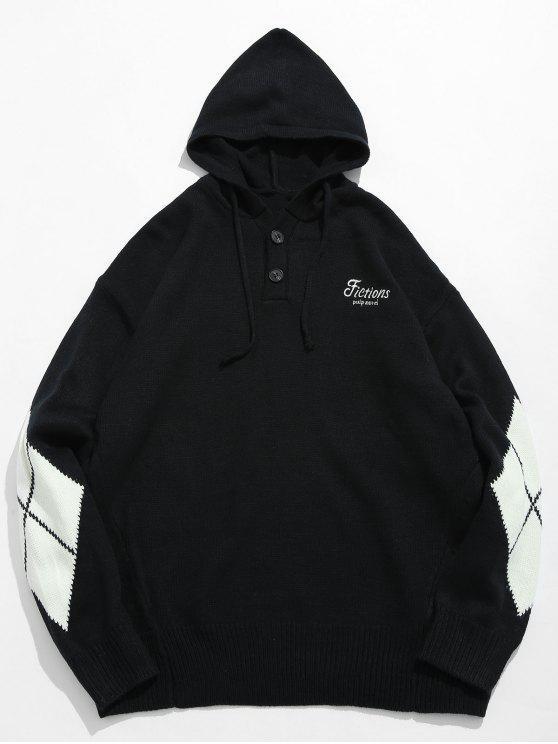 ダイヤモンド柄フード付きセーター - ブラック L