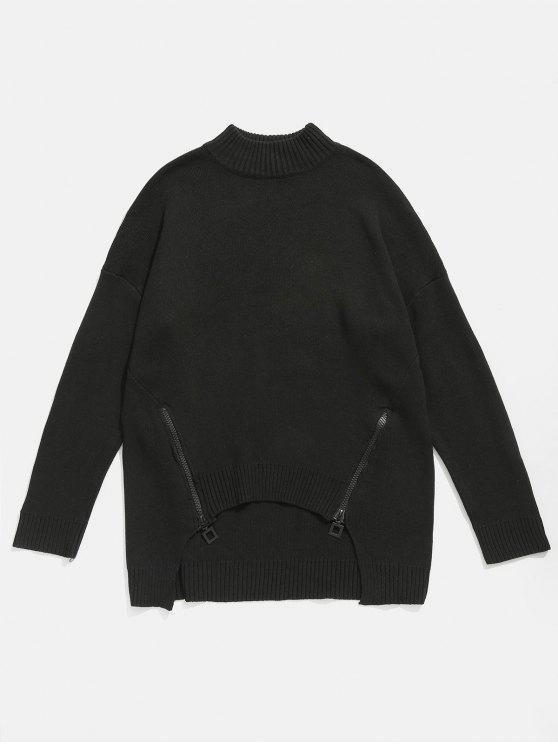 Pull Embelli de Zip à Ourlet Haut Bas - Noir 4XL