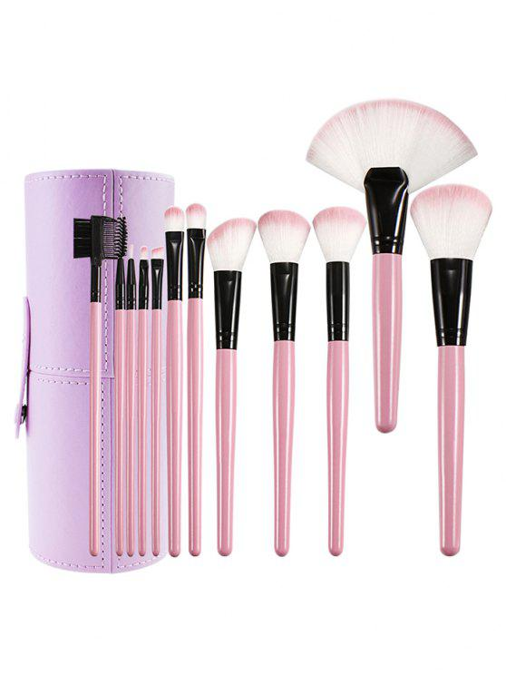 ladies 12 Pcs Ultra Soft Wooden Handles Travel Makeup Brush with Brush Cylinder - PINK REGULAR