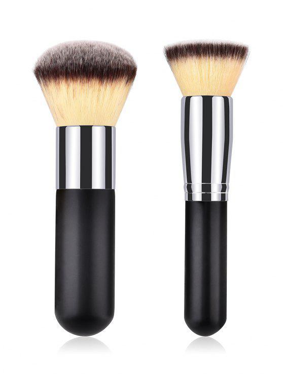 online Cosmetic 2 Pcs Multifunctional Fiber Hair Powder Brush Suit - BLACK