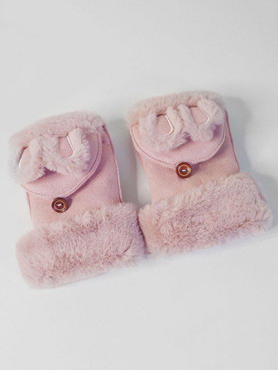 Gants d'Hiver Oreille de Lapin Décoratifs Sans Doigts - Rose Léger