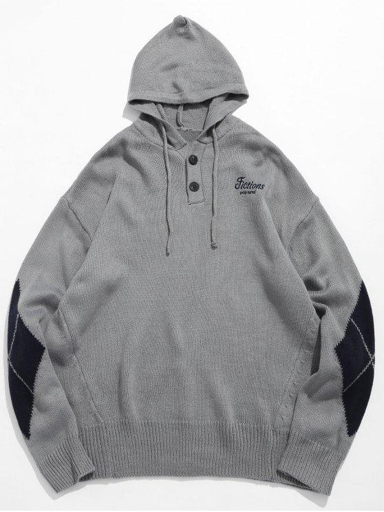 fancy Diamond Pattern Hooded Sweater - GRAY CLOUD L