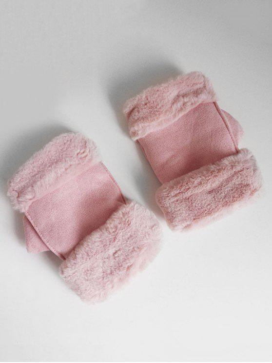 affordable Solid Color Fuzzy Winter Gloves - LIGHT PINK