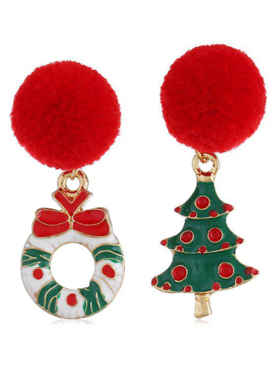 Christmas Tree Fuzzy Ball Party Earrings - متعدد