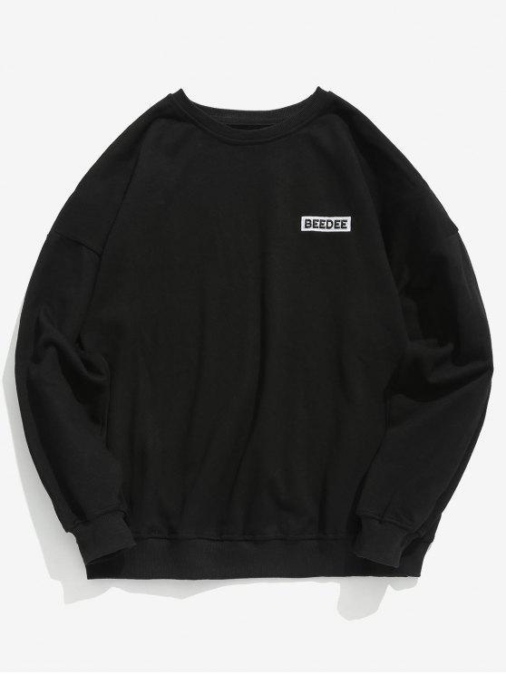 buy Casual Printed Drop Shoulder Sweatshirt - BLACK XL
