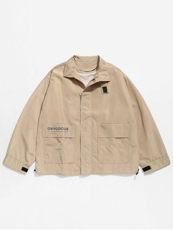 shop Hidden Zipper Printed Windproof Jacket - LIGHT KHAKI L